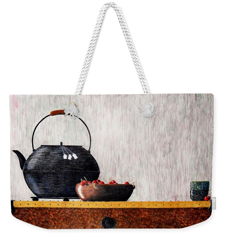 Still Life Weekender Tote Bag featuring the painting Mixed Relations by A Robert Malcom
