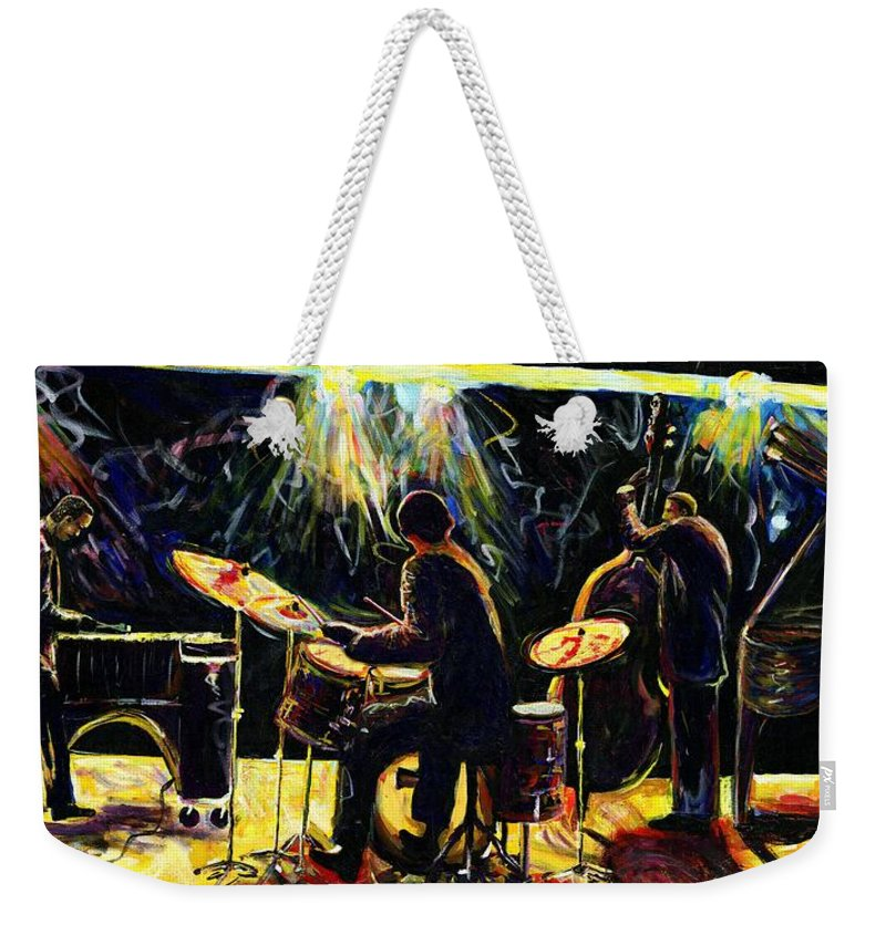 Everett Spruill Weekender Tote Bag featuring the painting Modern Jazz Quartet take2 by Everett Spruill