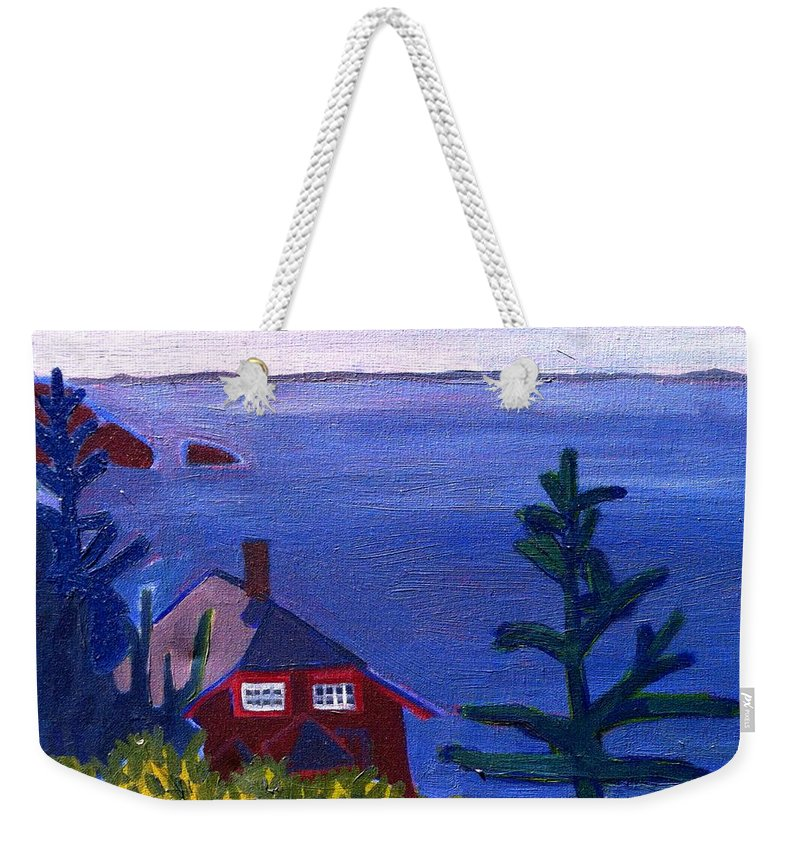 Beach Weekender Tote Bag featuring the painting Monhegan Late Afternoon by Debra Bretton Robinson