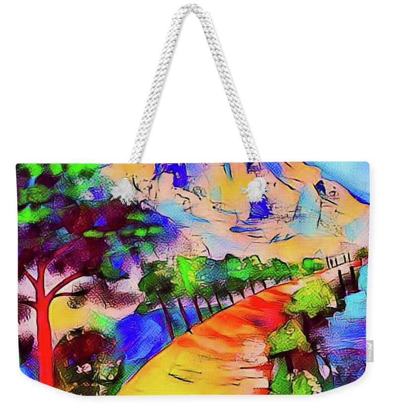 Cezanne Weekender Tote Bag featuring the mixed media Mont St Victoire by Rusty Gladdish