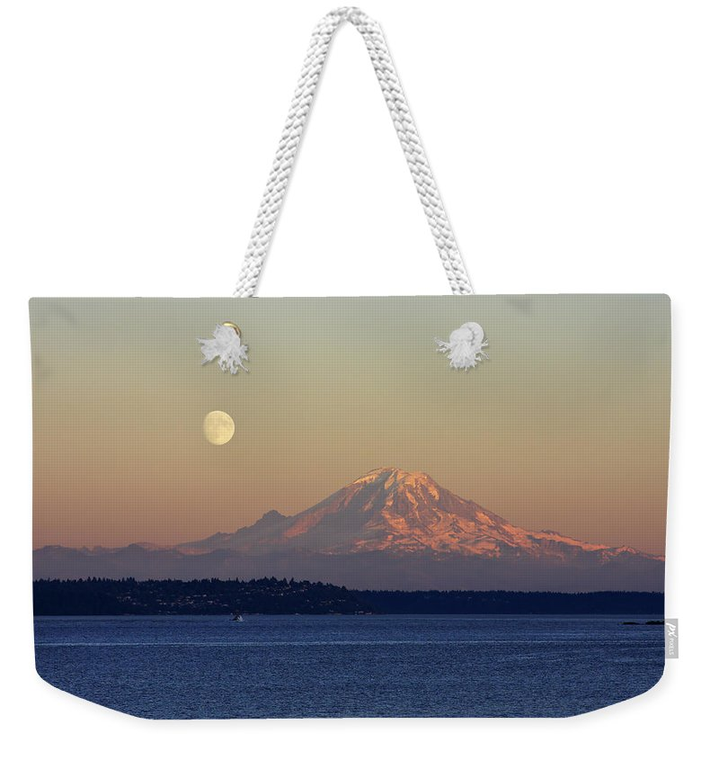 3scape Weekender Tote Bag featuring the photograph Moon Over Rainier by Adam Romanowicz