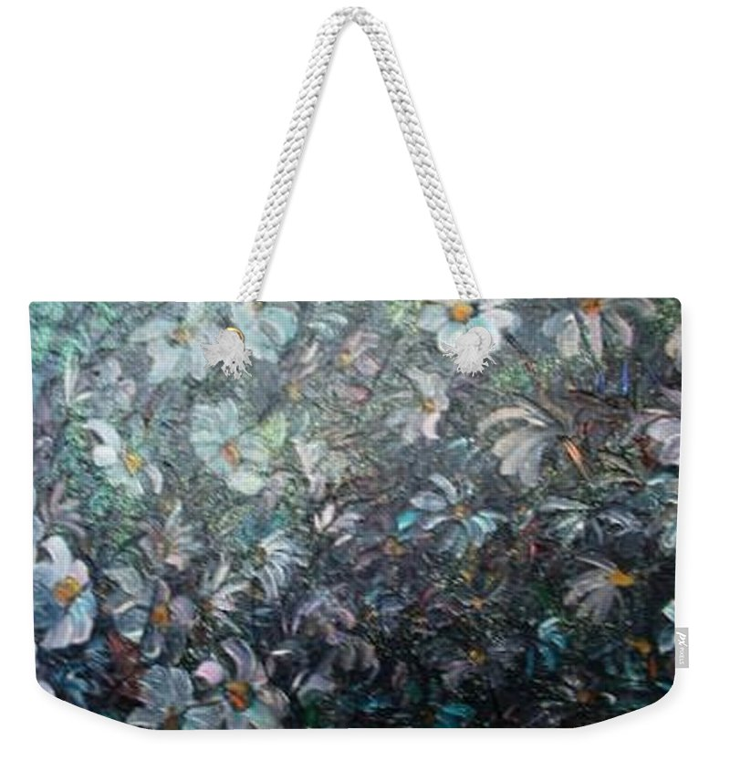 Floral Daisies Abstract Weekender Tote Bag featuring the painting Moonlight And Daisies.. by Karin Dawn Kelshall- Best