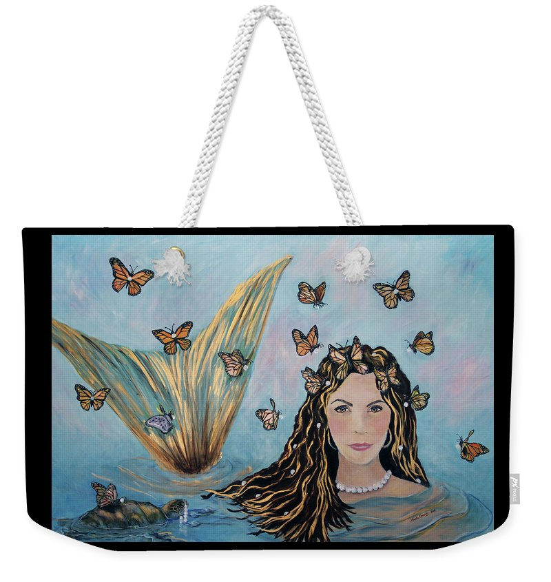 Mermaid Weekender Tote Bag featuring the painting More Precious Than Gold by Linda Queally
