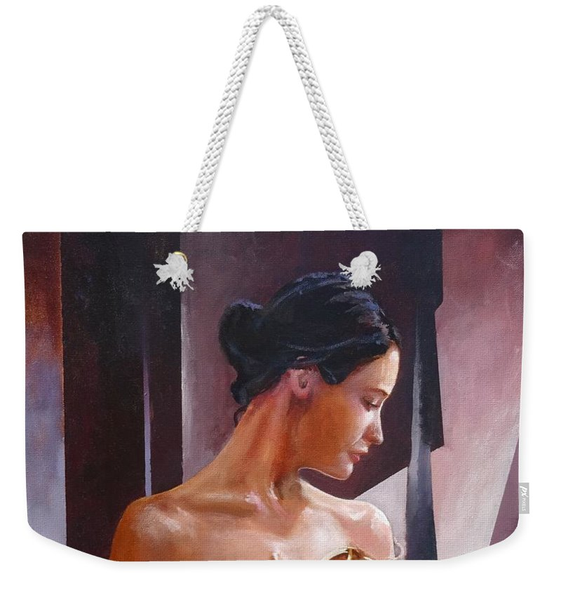 Female Figure Weekender Tote Bag featuring the painting Morning Beauty by Sinisa Saratlic