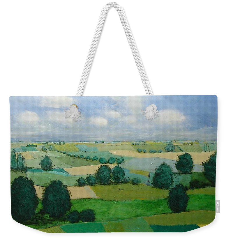 Landscape Weekender Tote Bag featuring the painting Morning Calm by Allan P Friedlander