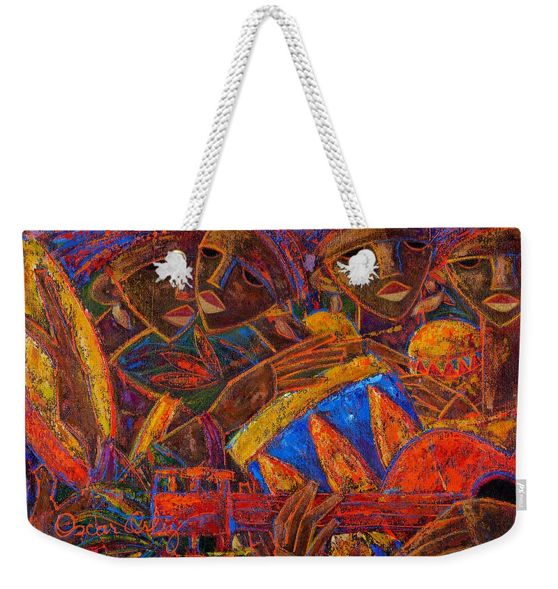 Puerto Rico Weekender Tote Bag featuring the painting Musas Del Caribe by Oscar Ortiz