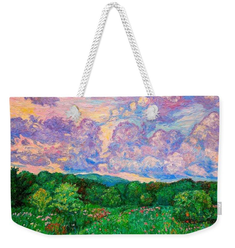 Landscape Weekender Tote Bag featuring the painting Mushroom Clouds by Kendall Kessler