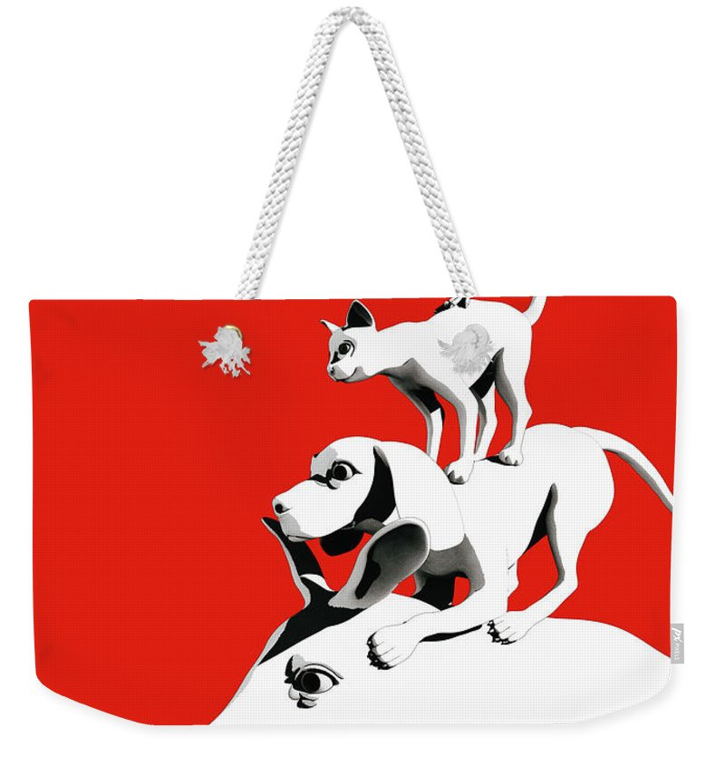 Donkey Weekender Tote Bag featuring the digital art Musicians of Bremen_red by Heike Remy