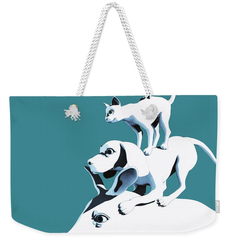 Donkey Weekender Tote Bag featuring the digital art Musicians of Bremen_teal by Heike Remy
