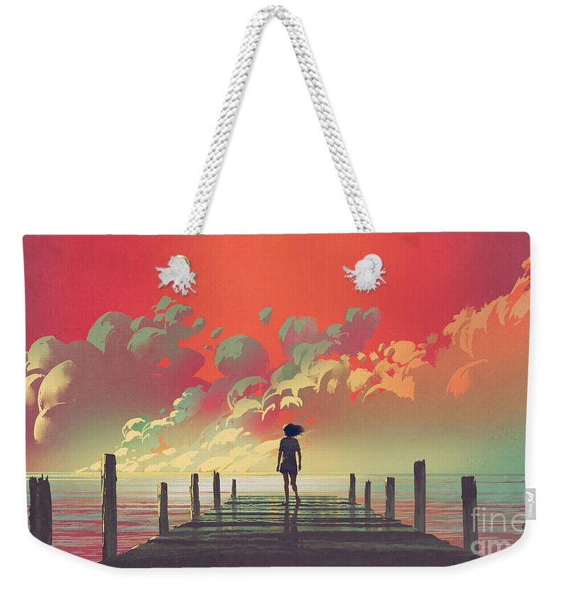 Illustration Weekender Tote Bag featuring the painting My Dream Place by Tithi Luadthong