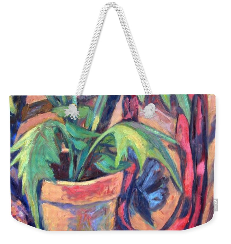 Plant Weekender Tote Bag featuring the painting My Old Shoe by Kendall Kessler