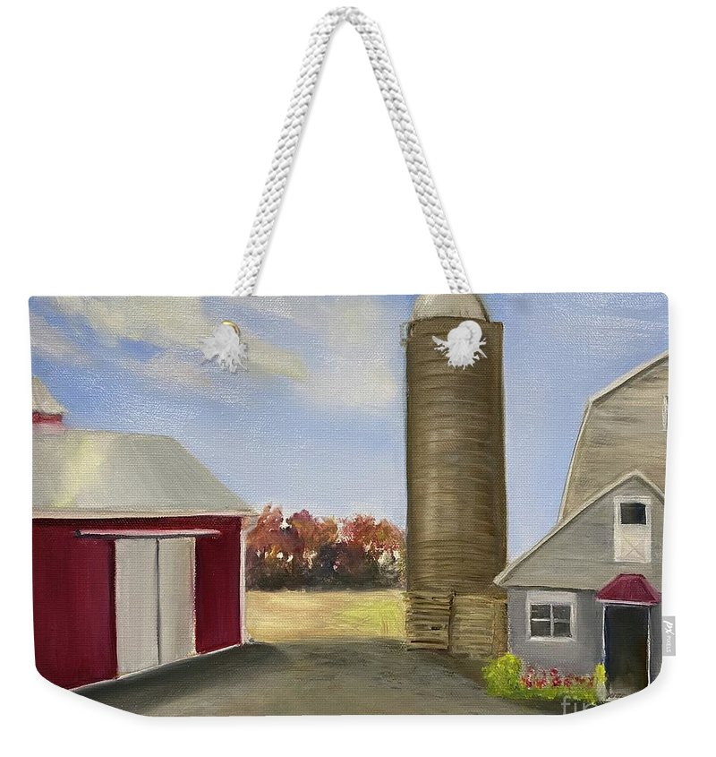 Plein Aire Weekender Tote Bag featuring the painting Nancys Farm by Sheila Mashaw