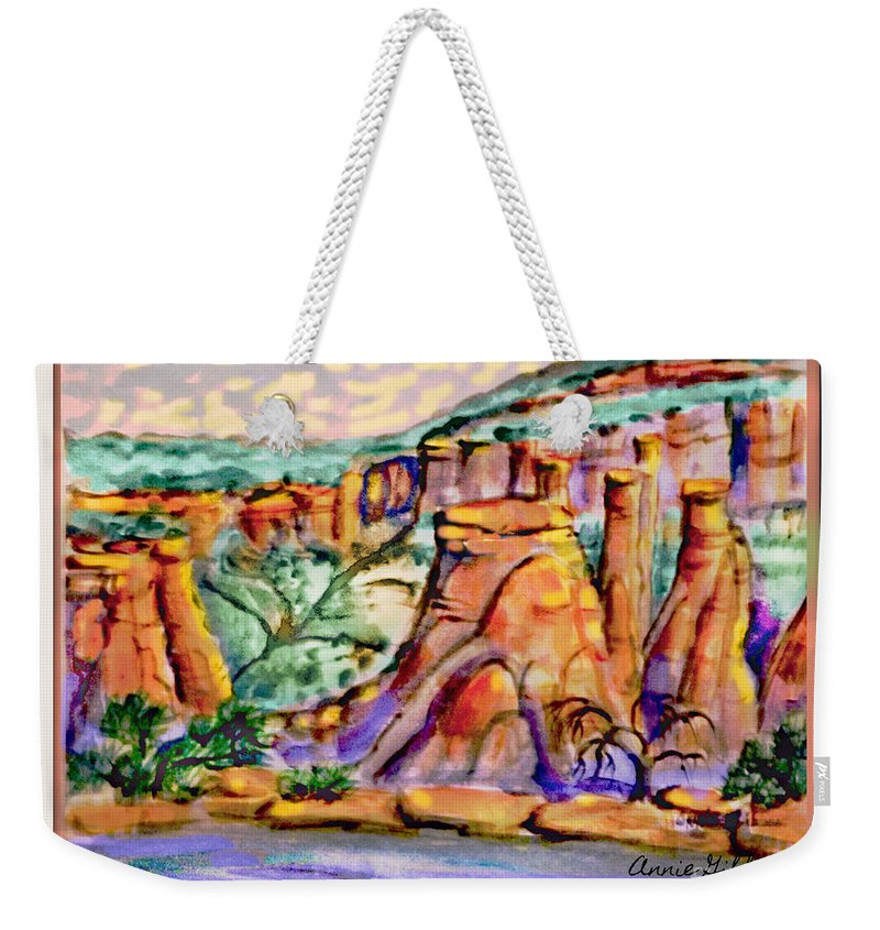 Digital Rework Of Study Pice For Final Painting Which Allowed Me To High Light The Sky With More Brightness Weekender Tote Bag featuring the painting National Monument by Annie Gibbons