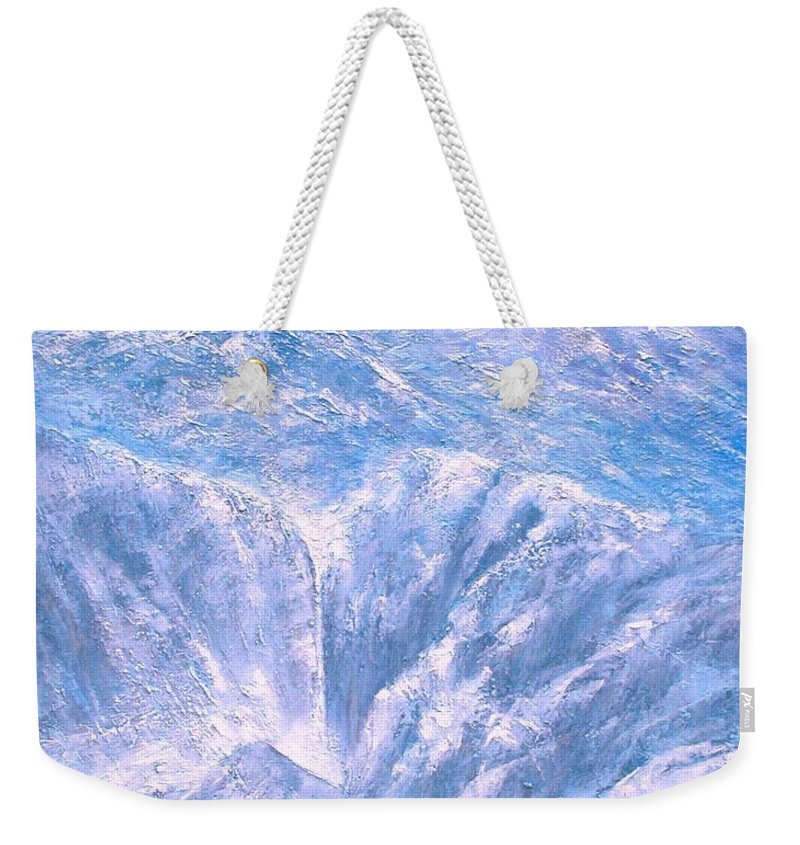 Landscape Weekender Tote Bag featuring the painting Near the Tetons by Jim Gola