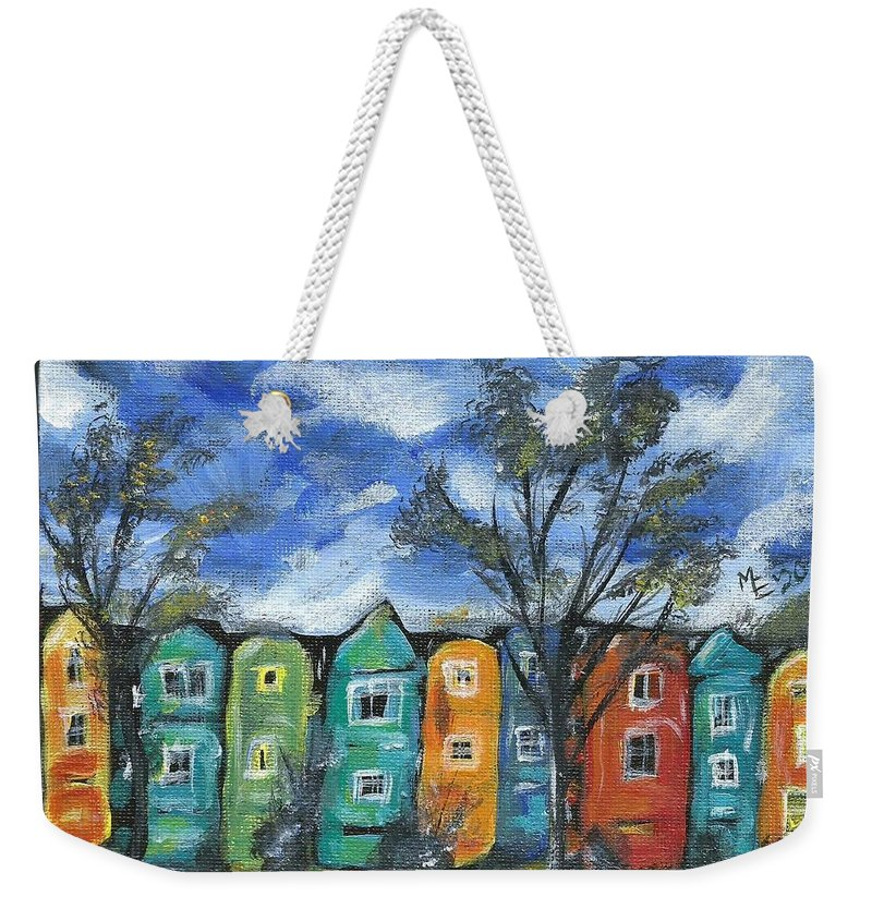 Neighborhood Painting Weekender Tote Bag featuring the painting Neighborhood by Monica Resinger
