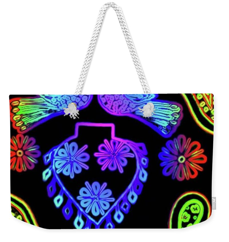 Birds Weekender Tote Bag featuring the painting Night birds II by Fareeha Khawaja