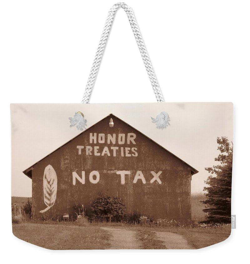 Barn Weekender Tote Bag featuring the photograph No Honor by Rhonda Barrett
