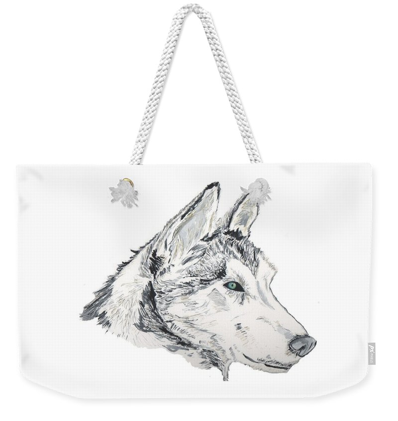 Wolf Weekender Tote Bag featuring the painting Noble Soul by Crystal Hubbard