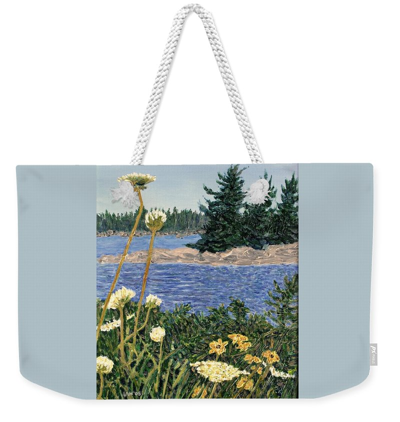 Northern Ontario Weekender Tote Bag featuring the painting North Channel Lake Huron by Ian MacDonald