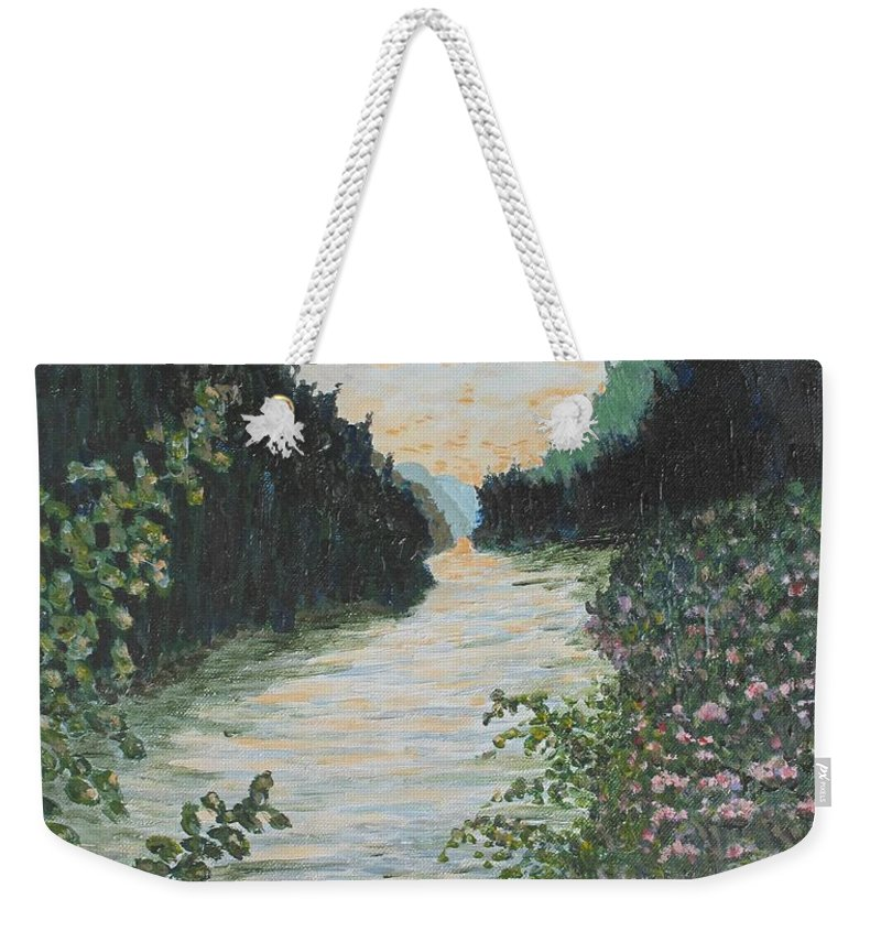 Agawa Canyon Weekender Tote Bag featuring the painting North of Sault Ste. Marie by Ian MacDonald
