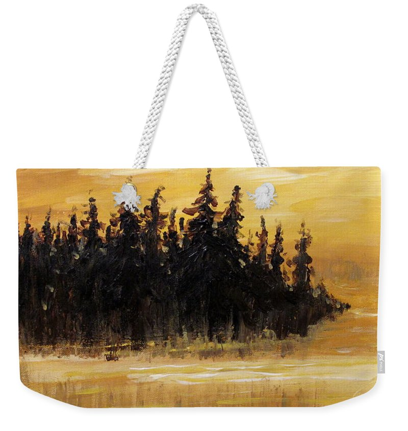 Northern Ontario Weekender Tote Bag featuring the painting Northern Ontario One by Ian MacDonald