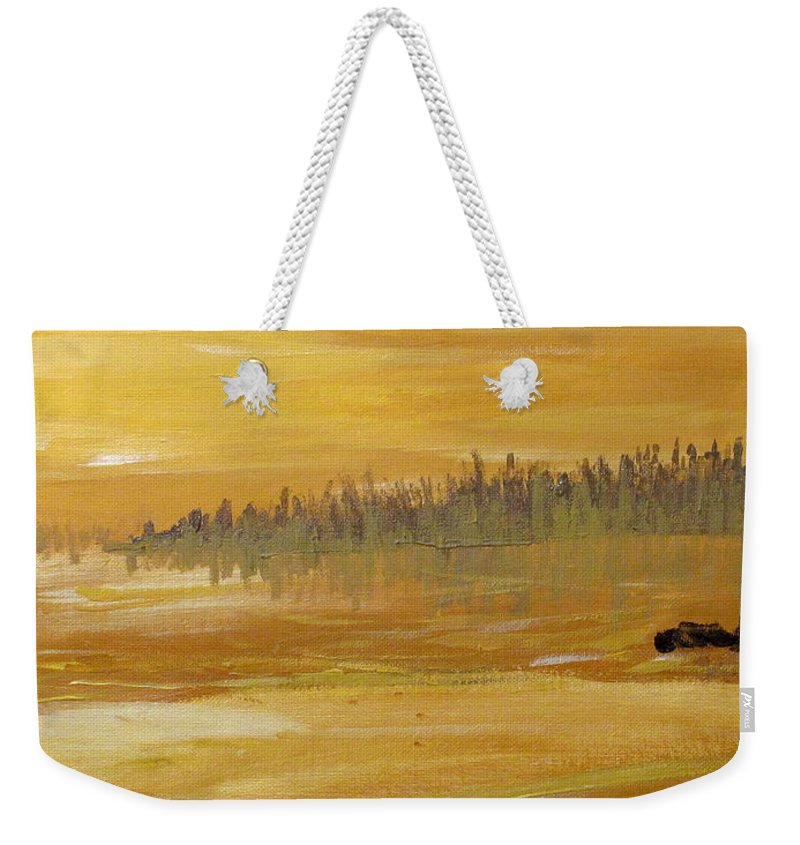 Northern Ontario Weekender Tote Bag featuring the painting Northern Ontario Two by Ian MacDonald