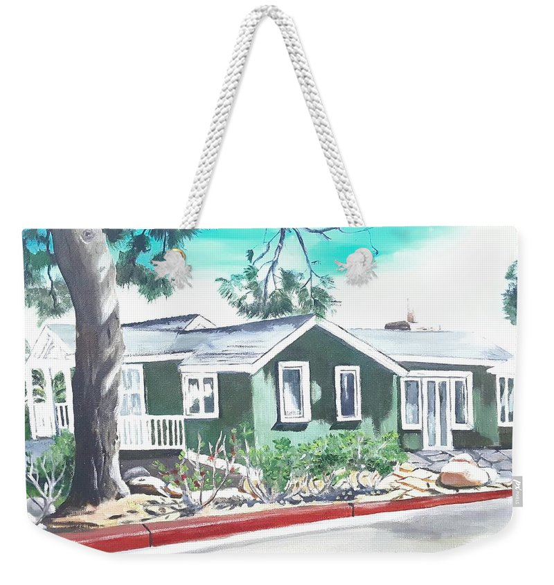 Landscape Weekender Tote Bag featuring the painting Ocean Front House by Andrew Johnson
