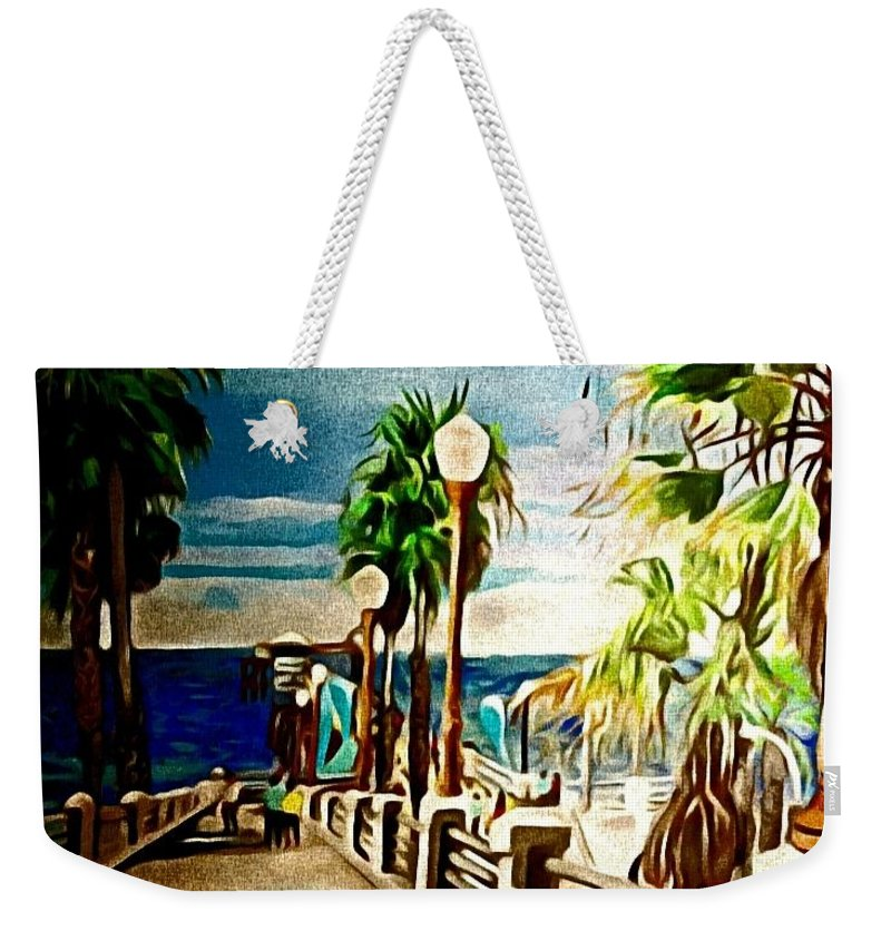 Landscape Weekender Tote Bag featuring the painting Oceanside Peir by Andrew Johnson