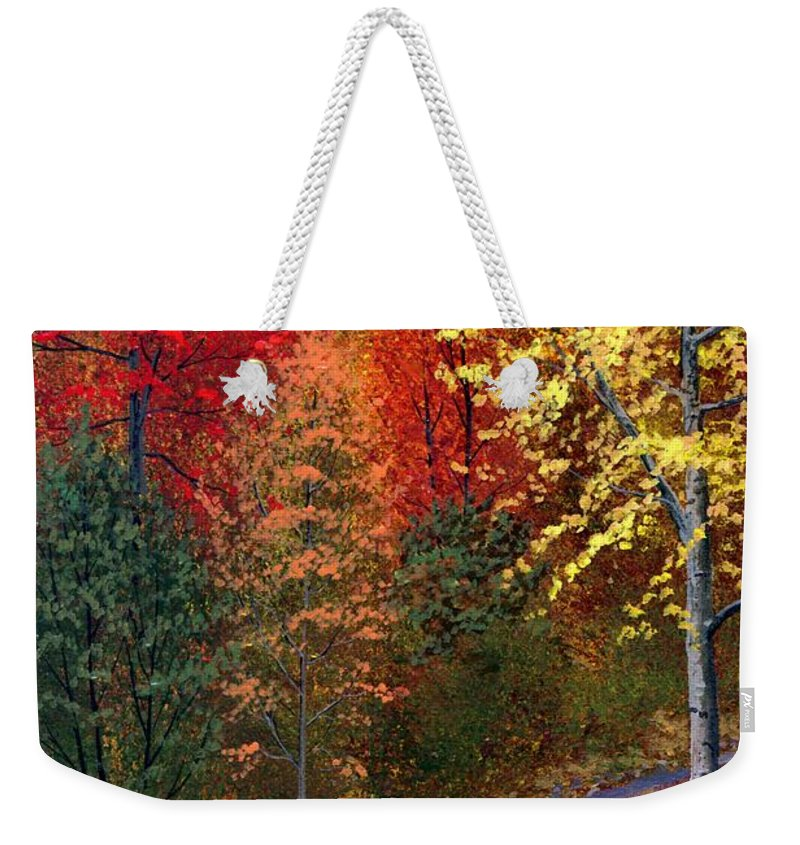 Landscape Weekender Tote Bag featuring the painting October Road by Frank Wilson