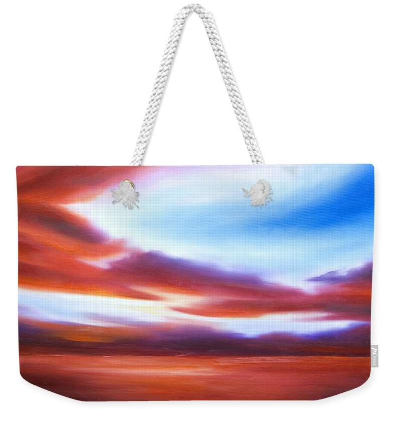Skyscape Weekender Tote Bag featuring the painting October Sky IV by James Christopher Hill