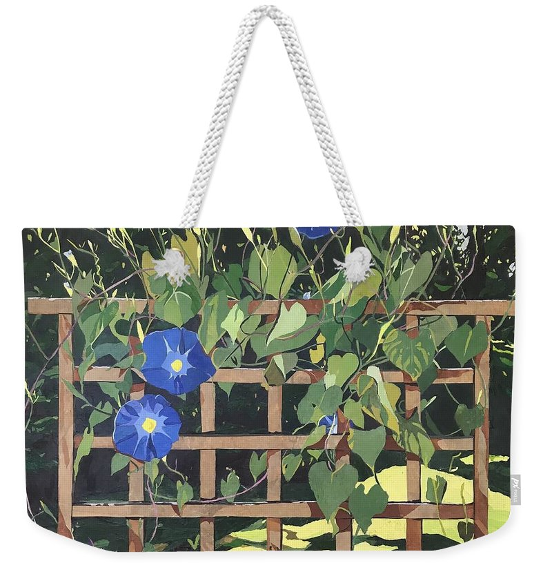 Floral Weekender Tote Bag featuring the mixed media Oh Morning Glories by Leah Tomaino