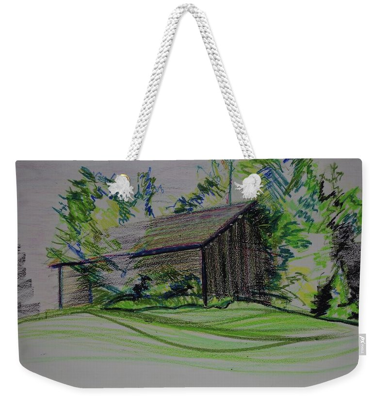 Plein Air Weekender Tote Bag featuring the pastel Old Barn At Wason Pond by Sean Connolly