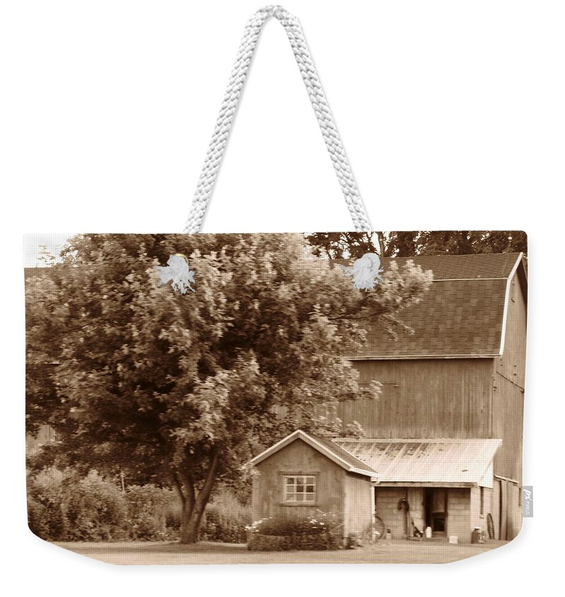 Barn Weekender Tote Bag featuring the photograph Old - Fashioned Barn by Rhonda Barrett