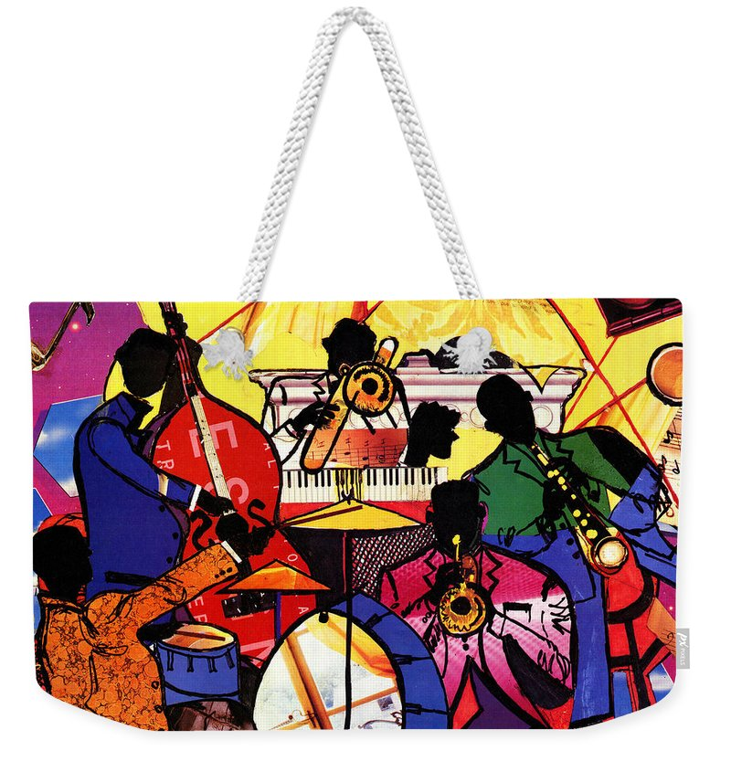 Everett Spruill Weekender Tote Bag featuring the painting Old School Jazz by Everett Spruill