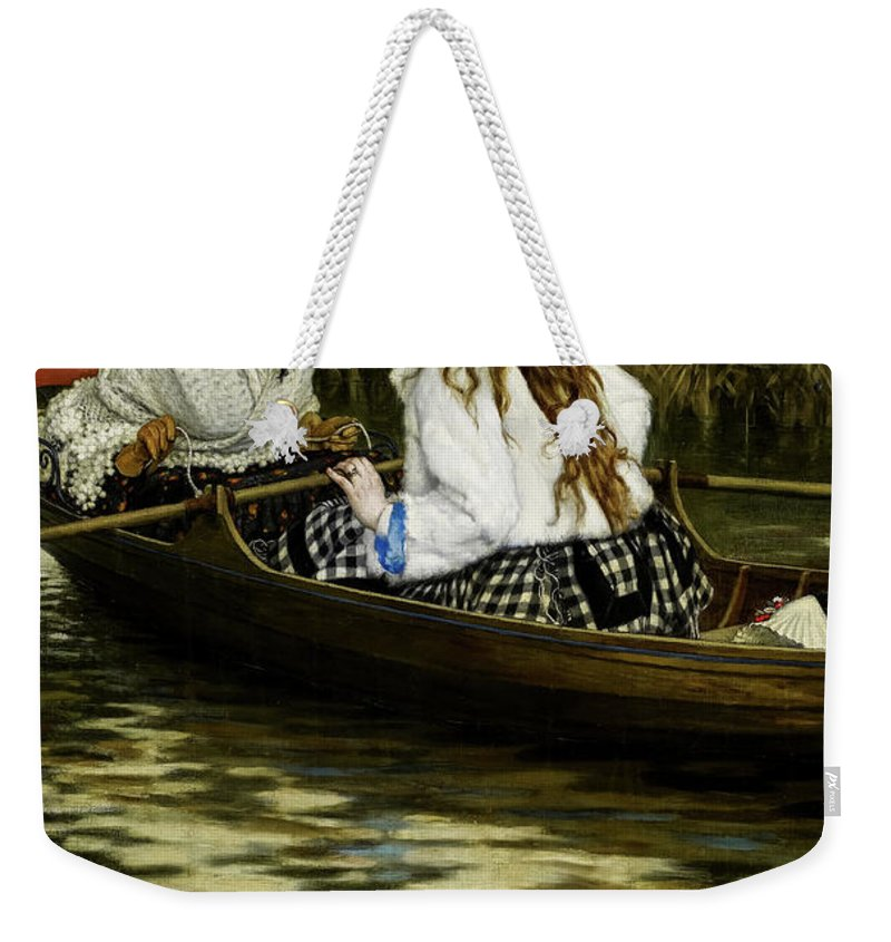 James Tissot Weekender Tote Bag featuring the painting On The Thames, A Heron, 1872 by James Tissot