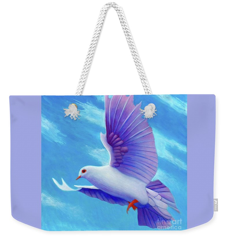 Dove Weekender Tote Bag featuring the painting One With Spirit by Brian Commerford
