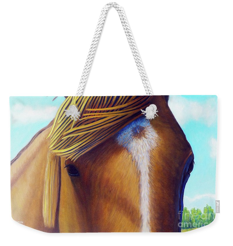 Horse Weekender Tote Bag featuring the painting Open Range by Brian Commerford
