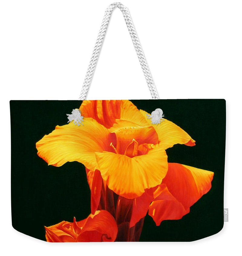 Floral Weekender Tote Bag featuring the painting Orange Canna by Gary Hernandez