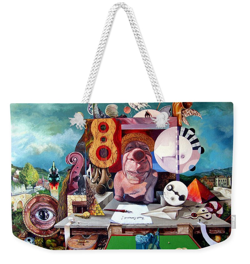Surrealism Weekender Tote Bag featuring the painting Pablos Last Concert by Otto Rapp