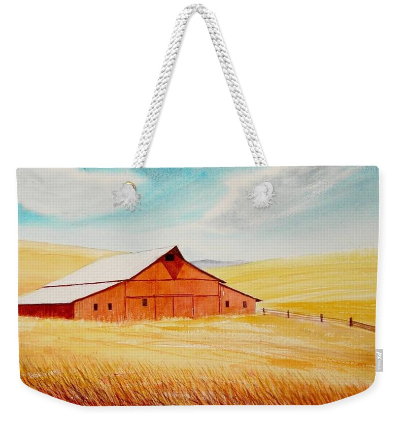 Wheat Weekender Tote Bag featuring the painting Palouse Air by Leonard Heid