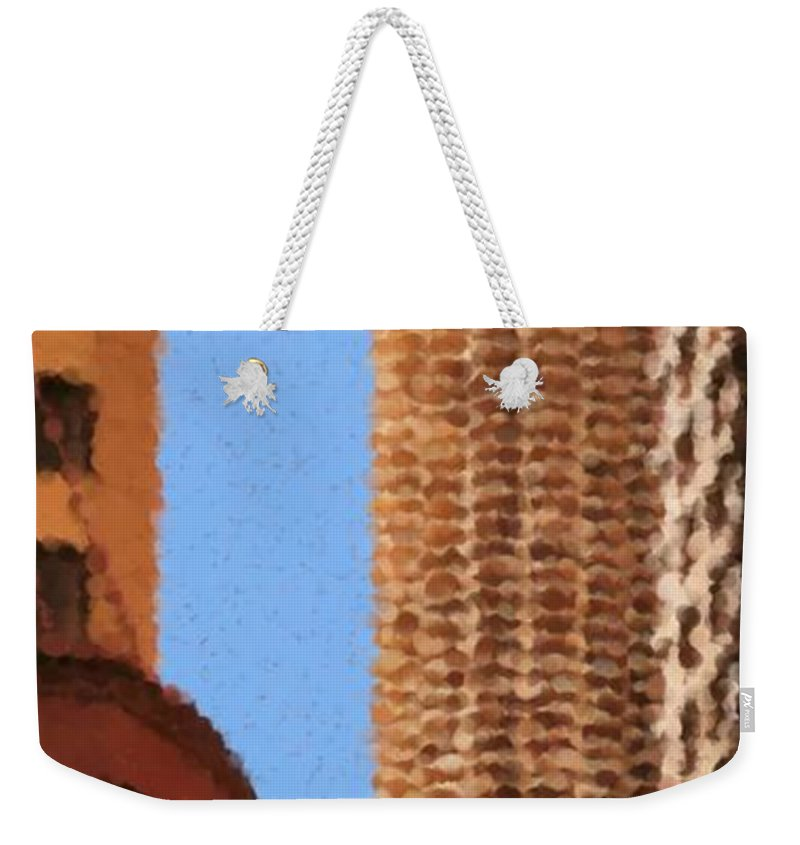 Pancakes Of Chicago Weekender Tote Bag featuring the mixed media Pancakes of Chicago by Asbjorn Lonvig