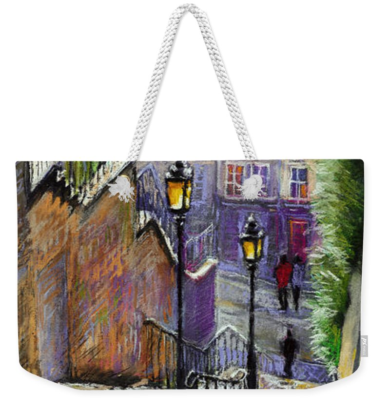 Cityscape Weekender Tote Bag featuring the painting Paris Montmartre Steps by Yuriy Shevchuk