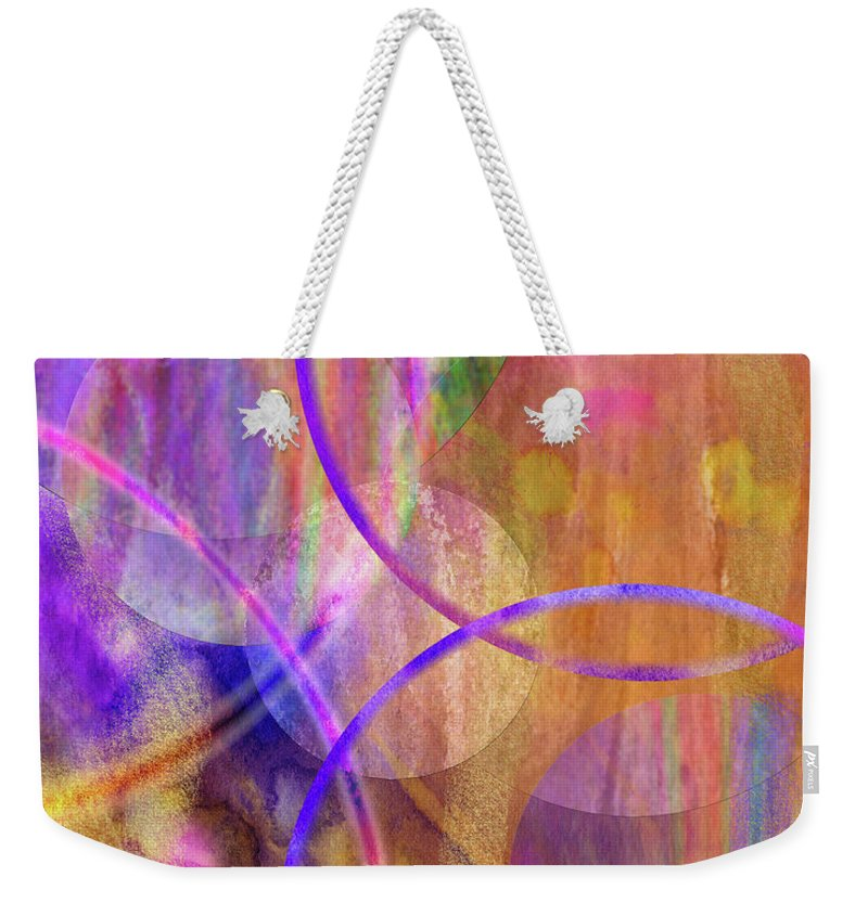 Pastel Planets Weekender Tote Bag featuring the digital art Pastel Planets by John Robert Beck