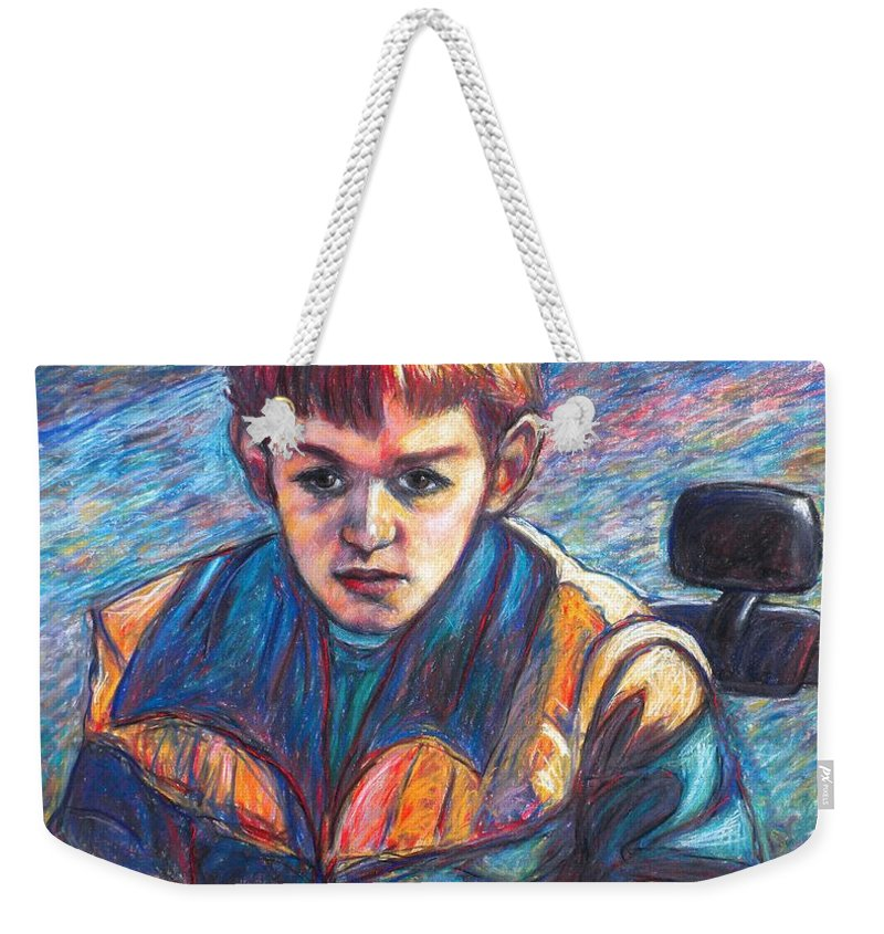 Impressionism Weekender Tote Bag featuring the painting Paul in Alans Jeep by Kendall Kessler