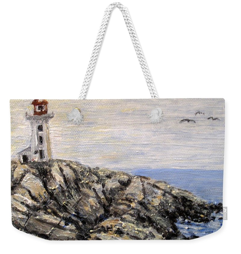 Lighthouse Weekender Tote Bag featuring the painting Peggys Cove Nova Scotia Lighthouse by Ian MacDonald