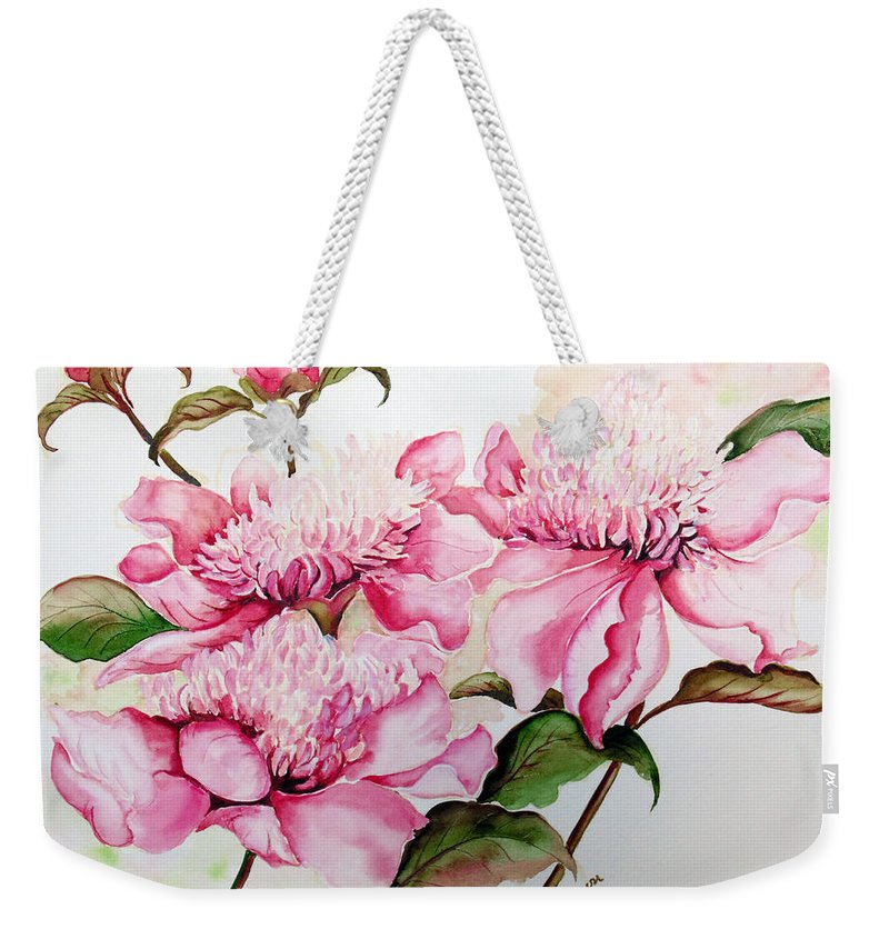Flower Painting Flora Painting Pink Peonies Painting Botanical Painting Flower Painting Pink Painting Greeting Card Painting Pink Peonies Weekender Tote Bag featuring the painting Peonies by Karin Dawn Kelshall- Best