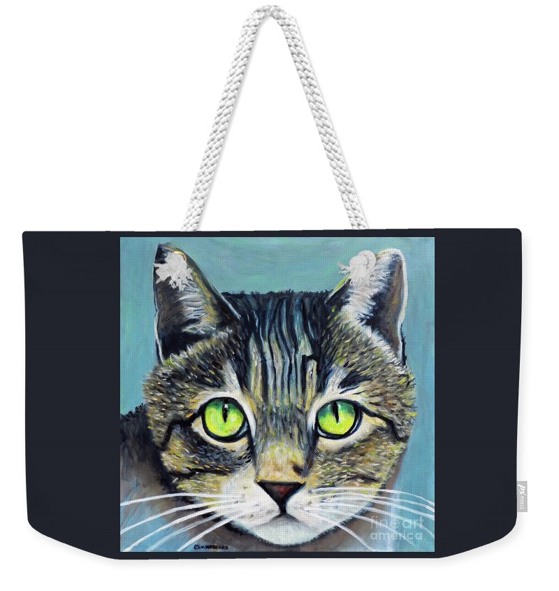 Cat Weekender Tote Bag featuring the painting Perhaps A Cat by Brian Commerford