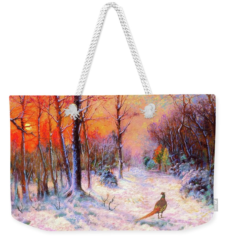 Tree Weekender Tote Bag featuring the painting Pheasant Nightfall by Jane Small