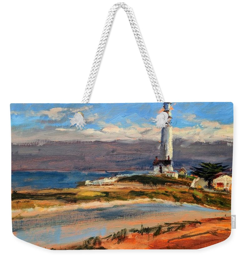 California Weekender Tote Bag featuring the painting Pigeon Point Lighthouse by Peter Salwen