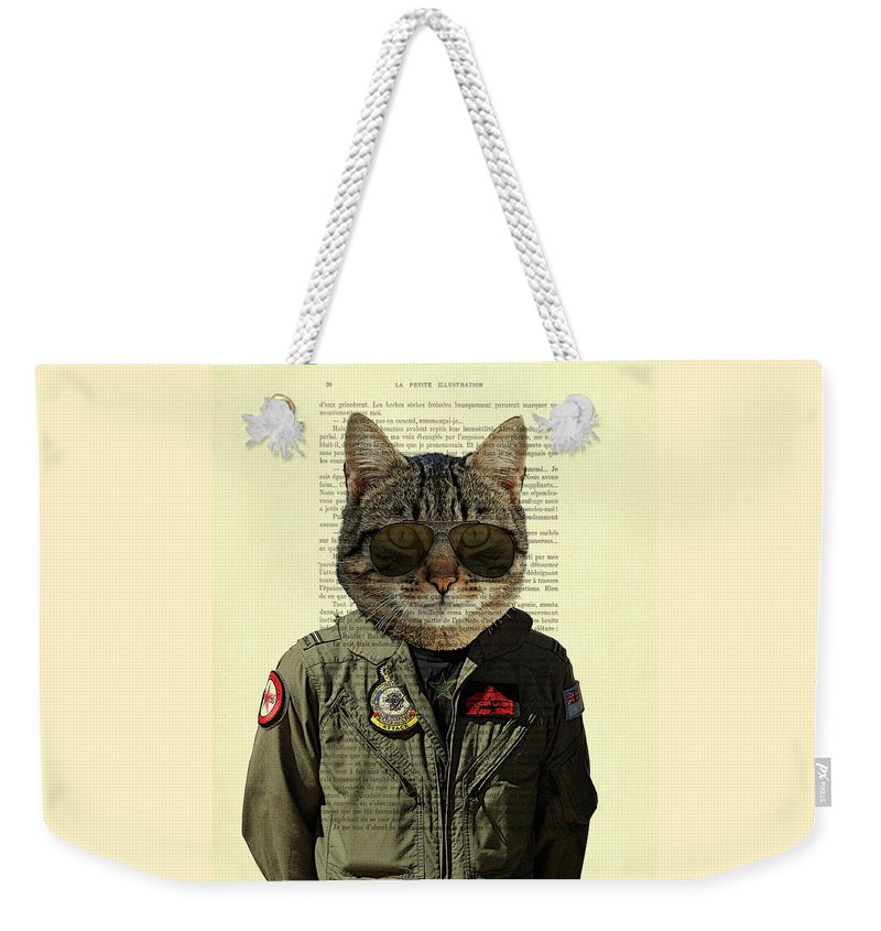 Cat Weekender Tote Bag featuring the digital art Pilot cat portrait on antique book page by Madame Memento